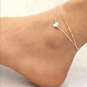 Jewelry - Heart layered chain anklet